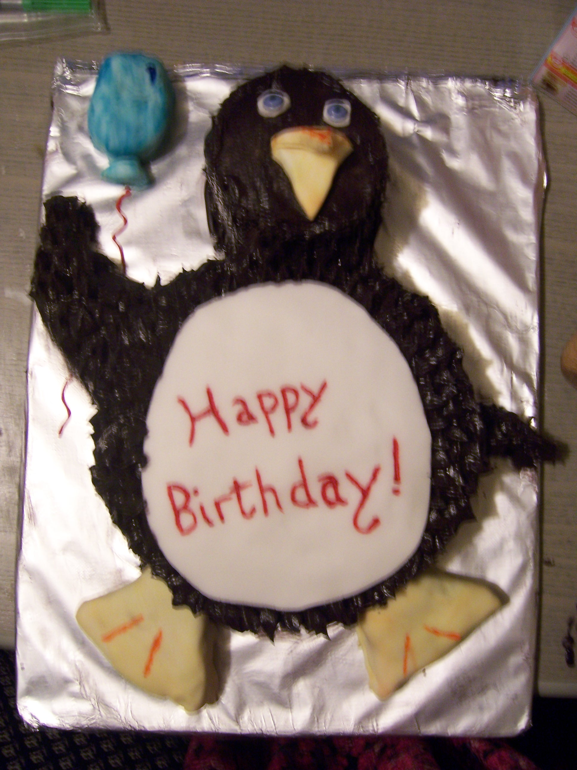 Admirable Penguin Birthday Cake Baking For Penguins Funny Birthday Cards Online Aeocydamsfinfo